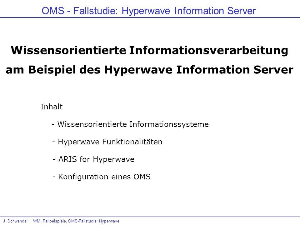 J. SchwendelWM, Fallbeispiele, OMS-Fallstudie: Hyperwave OMS - Fallstudie: Hyperwave Information Server Wissensorientierte Informationsverarbeitung am