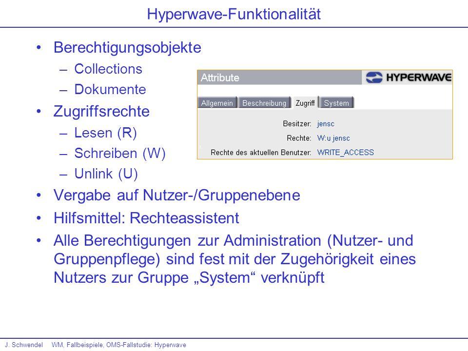 J. SchwendelWM, Fallbeispiele, OMS-Fallstudie: Hyperwave Hyperwave-Funktionalität Berechtigungsobjekte –Collections –Dokumente Zugriffsrechte –Lesen (