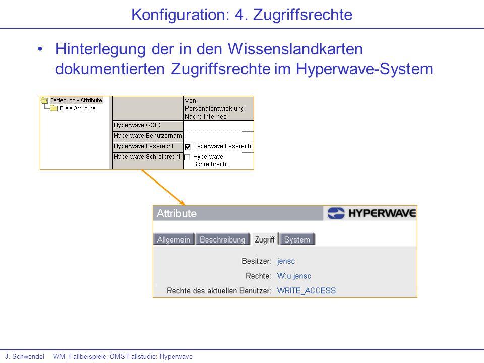 J. SchwendelWM, Fallbeispiele, OMS-Fallstudie: Hyperwave Konfiguration: 4. Zugriffsrechte Hinterlegung der in den Wissenslandkarten dokumentierten Zug