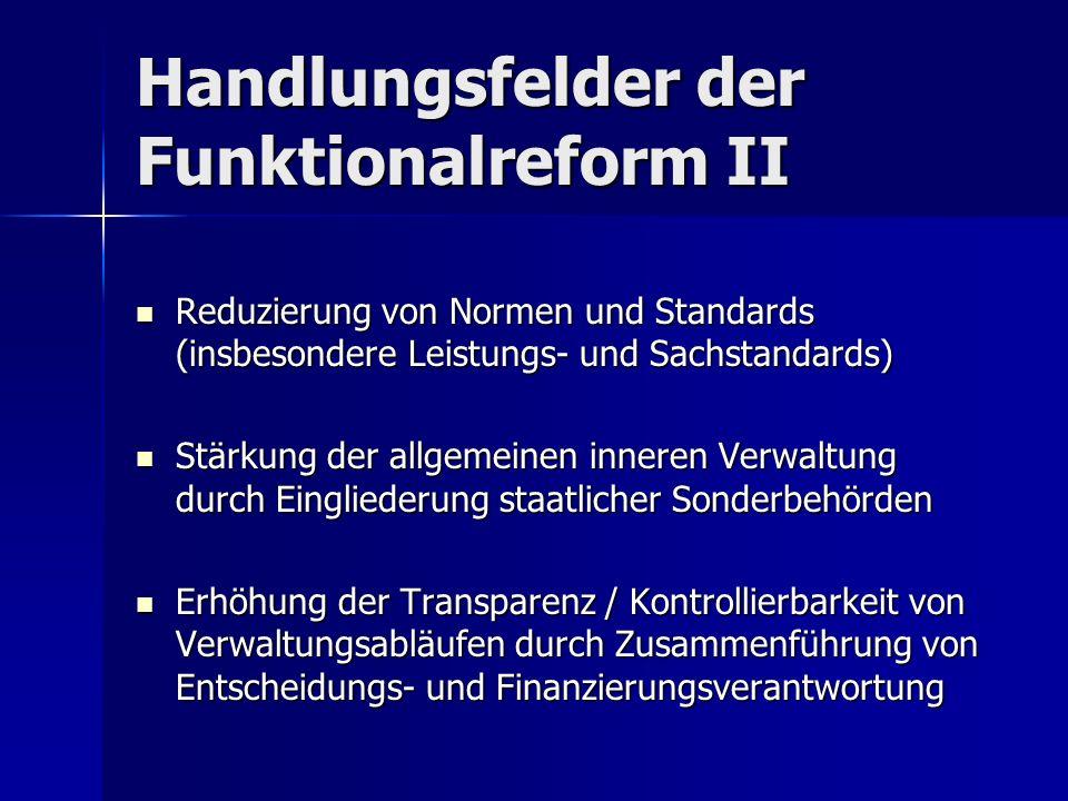 Handlungsfelder der Funktionalreform II Reduzierung von Normen und Standards (insbesondere Leistungs- und Sachstandards) Reduzierung von Normen und St