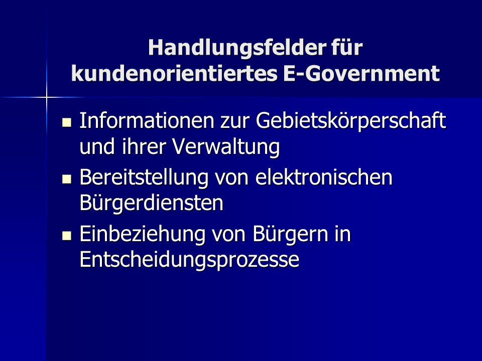 Handlungsfelder für kundenorientiertes E-Government Informationen zur Gebietskörperschaft und ihrer Verwaltung Informationen zur Gebietskörperschaft u