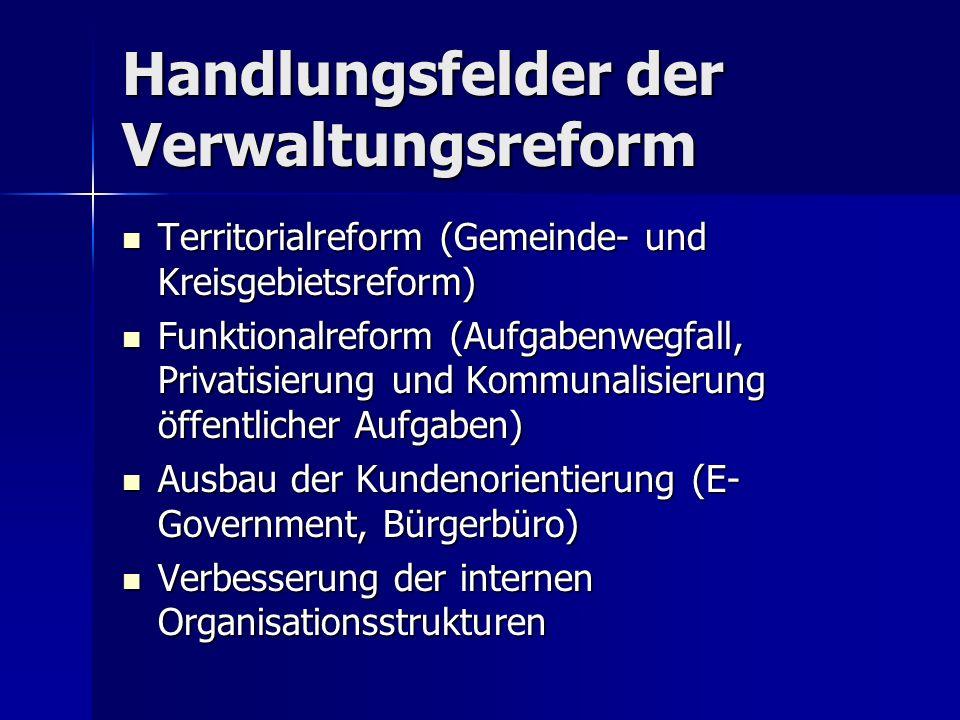 Handlungsfelder der Verwaltungsreform Territorialreform (Gemeinde- und Kreisgebietsreform) Territorialreform (Gemeinde- und Kreisgebietsreform) Funkti