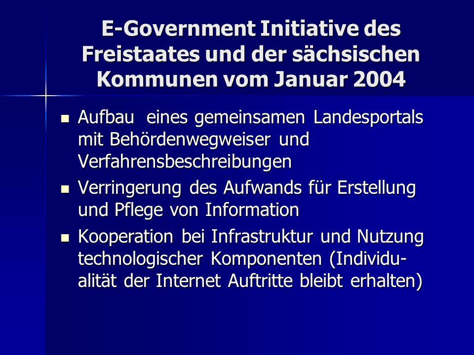 E-Government Initiative des Freistaates und der sächsischen Kommunen vom Januar 2004 Aufbau eines gemeinsamen Landesportals mit Behördenwegweiser und