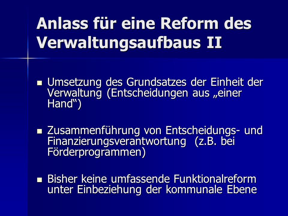 Anlass für eine Reform des Verwaltungsaufbaus II Umsetzung des Grundsatzes der Einheit der Verwaltung (Entscheidungen aus einer Hand) Umsetzung des Gr