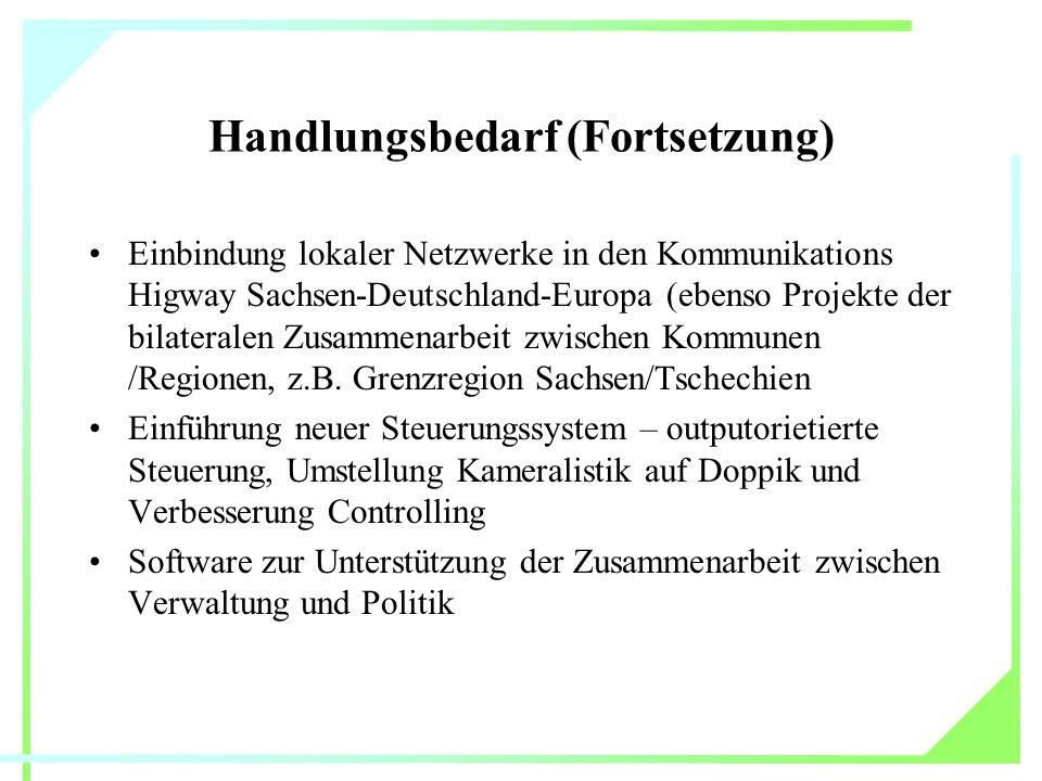 Handlungsbedarf (Fortsetzung) Einbindung lokaler Netzwerke in den Kommunikations Higway Sachsen-Deutschland-Europa (ebenso Projekte der bilateralen Zusammenarbeit zwischen Kommunen /Regionen, z.B.