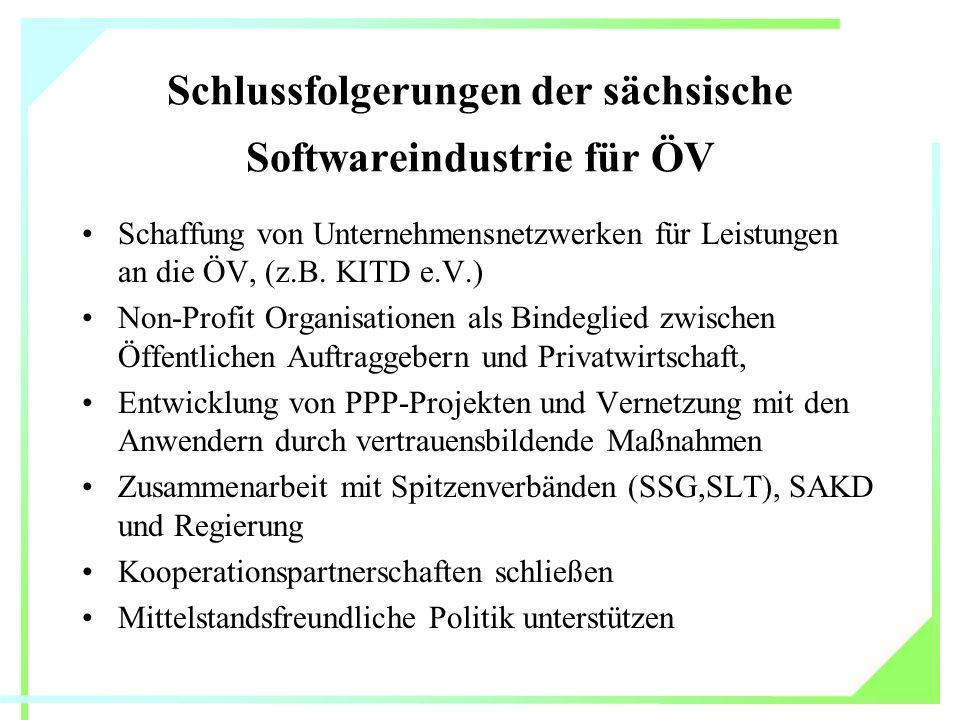Schlussfolgerungen der sächsische Softwareindustrie für ÖV Schaffung von Unternehmensnetzwerken für Leistungen an die ÖV, (z.B.