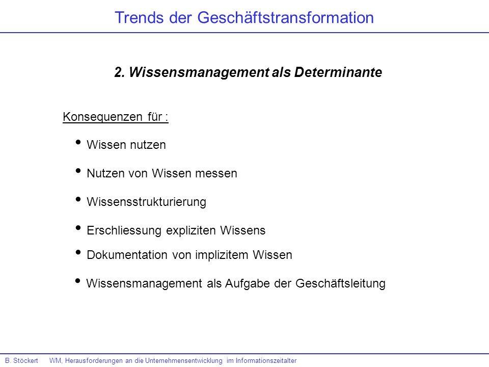 B. Stöckert WM, Herausforderungen an die Unternehmensentwicklung im Informationszeitalter Trends der Geschäftstransformation 2. Wissensmanagement als