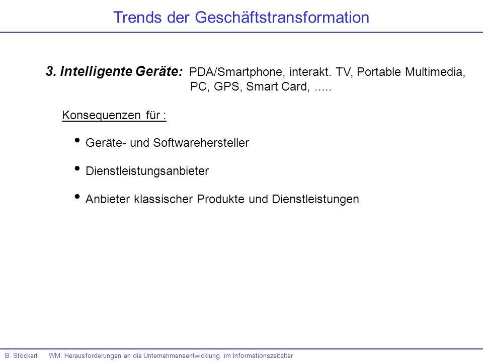 B. Stöckert WM, Herausforderungen an die Unternehmensentwicklung im Informationszeitalter Trends der Geschäftstransformation 3. Intelligente Geräte: P