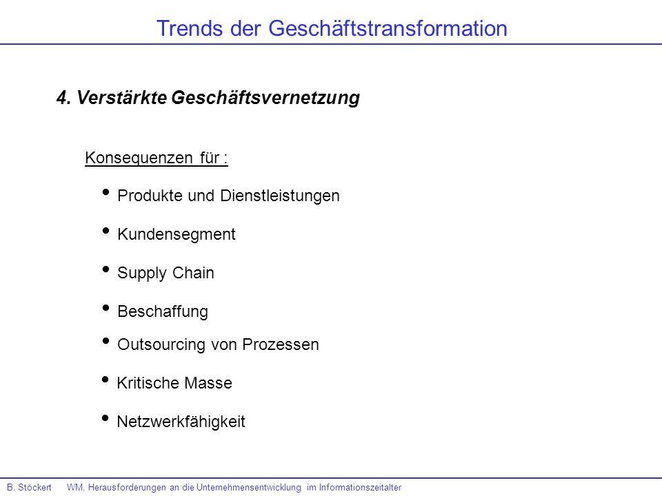 B. Stöckert WM, Herausforderungen an die Unternehmensentwicklung im Informationszeitalter Trends der Geschäftstransformation 4. Verstärkte Geschäftsve