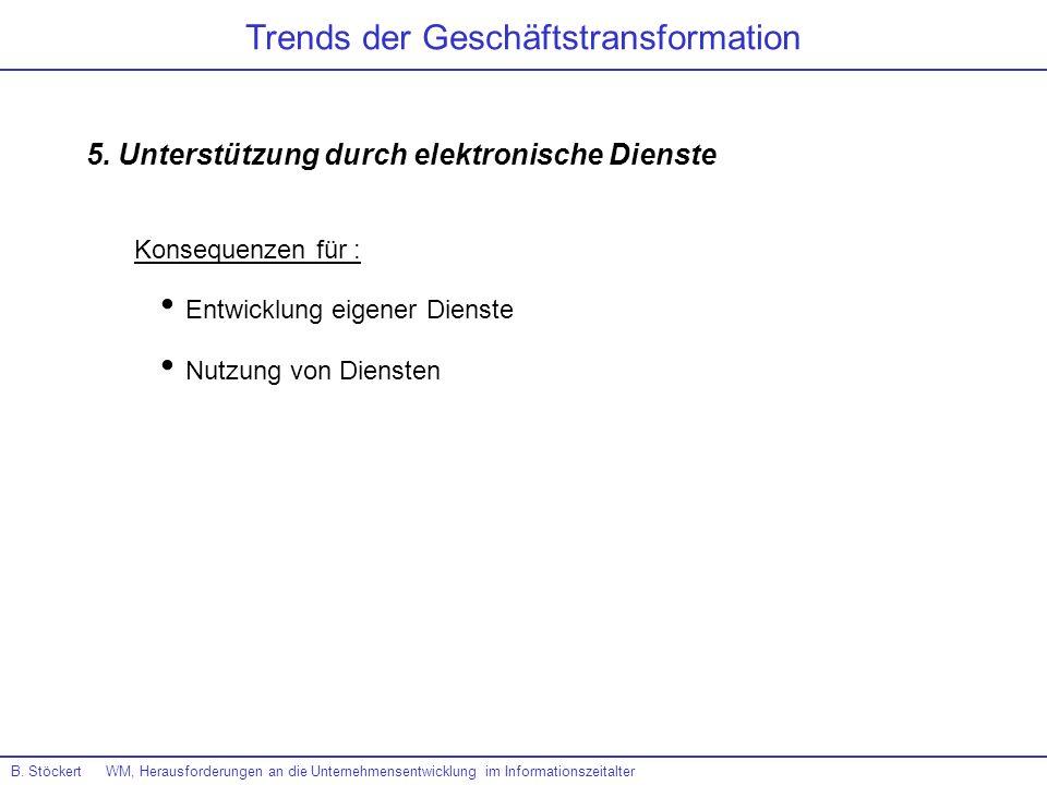 B. Stöckert WM, Herausforderungen an die Unternehmensentwicklung im Informationszeitalter Trends der Geschäftstransformation 5. Unterstützung durch el