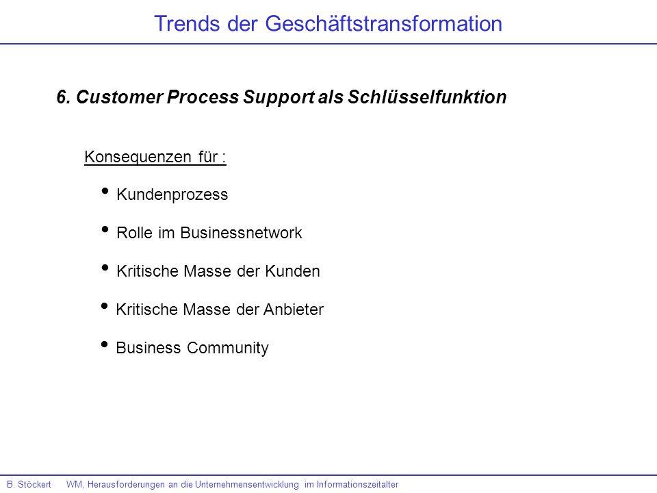 B. Stöckert WM, Herausforderungen an die Unternehmensentwicklung im Informationszeitalter Trends der Geschäftstransformation 6. Customer Process Suppo