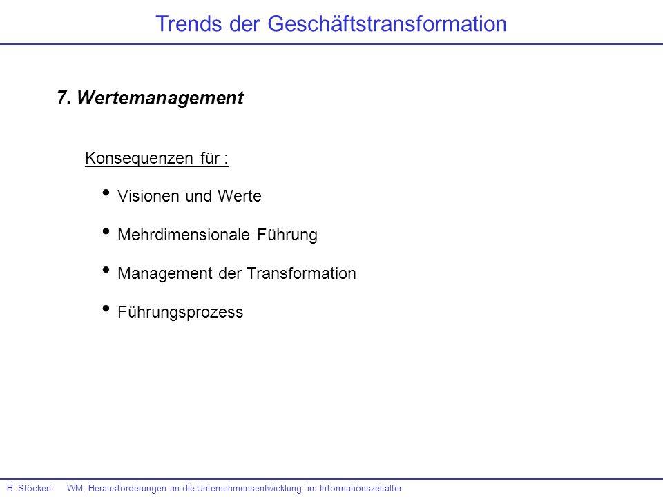 B. Stöckert WM, Herausforderungen an die Unternehmensentwicklung im Informationszeitalter Trends der Geschäftstransformation 7. Wertemanagement Vision