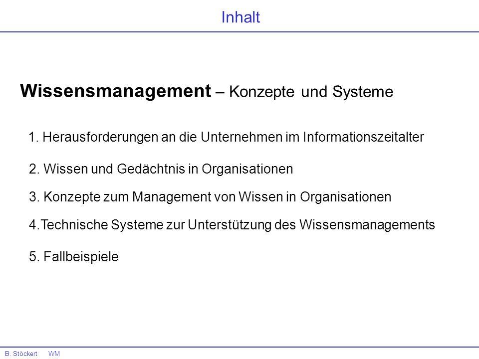 B. Stöckert WM Inhalt Wissensmanagement – Konzepte und Systeme 1. Herausforderungen an die Unternehmen im Informationszeitalter 2. Wissen und Gedächtn