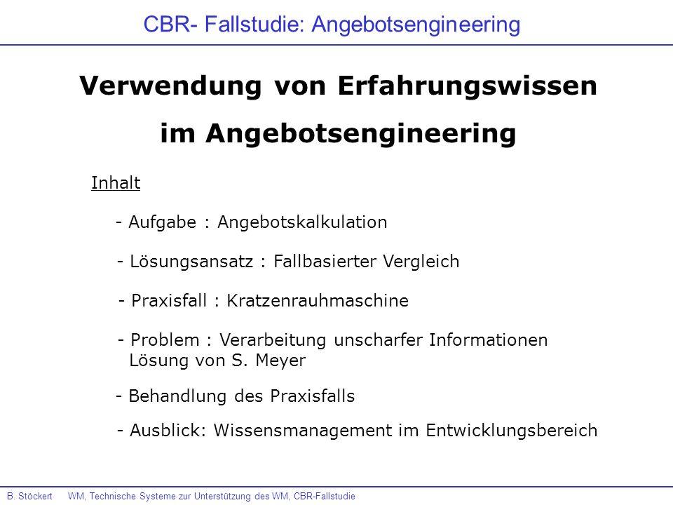 CBR- Fallstudie: Angebotsengineering Verwendung von Erfahrungswissen im Angebotsengineering - Aufgabe : Angebotskalkulation - Lösungsansatz : Fallbasi