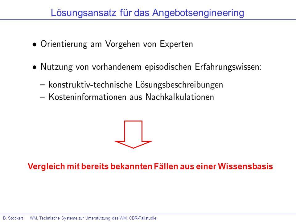 B. Stöckert WM, Technische Systeme zur Unterstützung des WM, CBR-Fallstudie Lösungsansatz für das Angebotsengineering Vergleich mit bereits bekannten