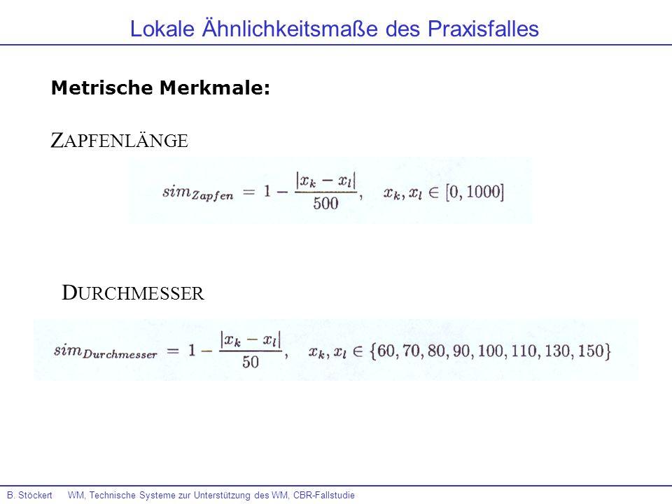 B. Stöckert WM, Technische Systeme zur Unterstützung des WM, CBR-Fallstudie Lokale Ähnlichkeitsmaße des Praxisfalles Metrische Merkmale: Z APFENLÄNGE