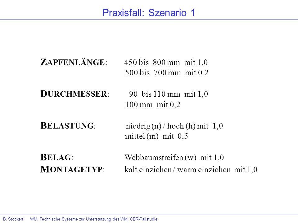 B. Stöckert WM, Technische Systeme zur Unterstützung des WM, CBR-Fallstudie Praxisfall: Szenario 1 Z APFENLÄNGE : 450 bis 800 mm mit 1,0 500 bis 700 m