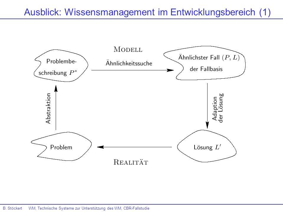 B. Stöckert WM, Technische Systeme zur Unterstützung des WM, CBR-Fallstudie Ausblick: Wissensmanagement im Entwicklungsbereich (1)