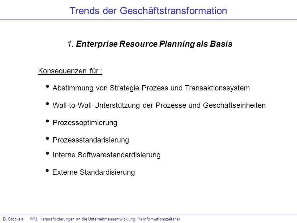 Trends der Geschäftstransformation B. Stöckert WM, Herausforderungen an die Unternehmensentwicklung im Informationszeitalter 1. Enterprise Resource Pl