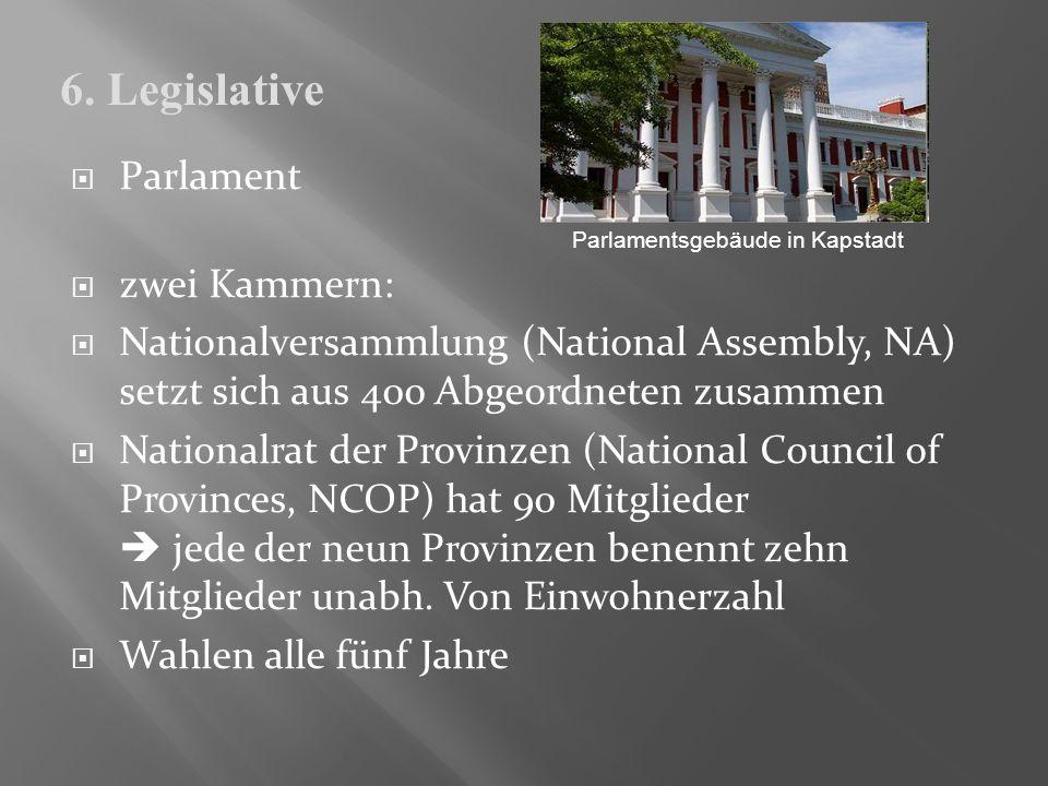 Parlament zwei Kammern: Nationalversammlung (National Assembly, NA) setzt sich aus 400 Abgeordneten zusammen Nationalrat der Provinzen (National Counc