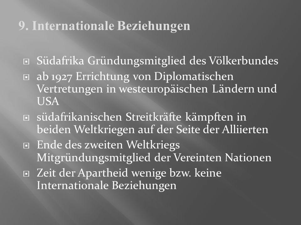 Südafrika Gründungsmitglied des Völkerbundes ab 1927 Errichtung von Diplomatischen Vertretungen in westeuropäischen Ländern und USA südafrikanischen S