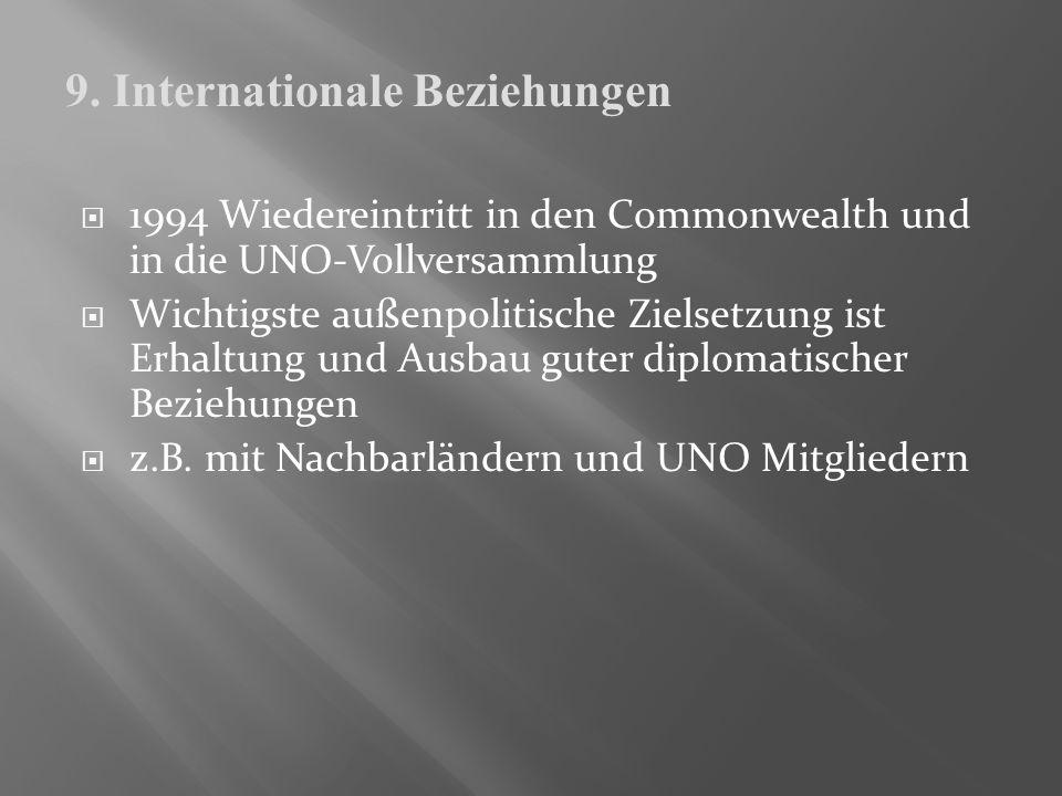 1994 Wiedereintritt in den Commonwealth und in die UNO-Vollversammlung Wichtigste außenpolitische Zielsetzung ist Erhaltung und Ausbau guter diplomati