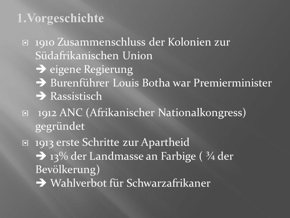 1910 Zusammenschluss der Kolonien zur Südafrikanischen Union eigene Regierung Burenführer Louis Botha war Premierminister Rassistisch 1912 ANC (Afrika