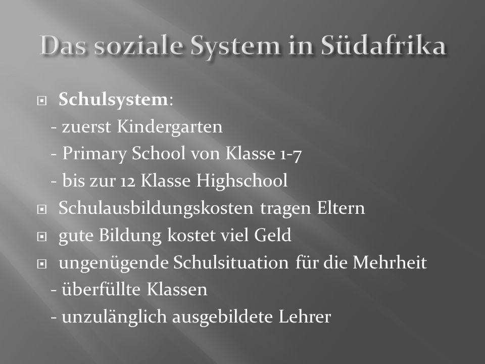 Schulsystem: - zuerst Kindergarten - Primary School von Klasse 1-7 - bis zur 12 Klasse Highschool Schulausbildungskosten tragen Eltern gute Bildung ko