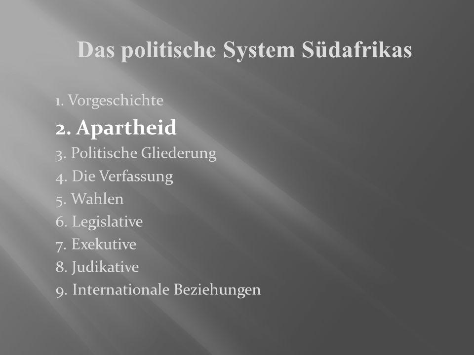 2. Apartheid 3. Politische Gliederung 4. Die Verfassung 5. Wahlen 6. Legislative 7. Exekutive 8. Judikative 9. Internationale Beziehungen Das politisc