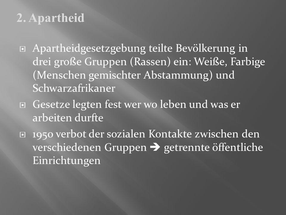 Apartheidgesetzgebung teilte Bevölkerung in drei große Gruppen (Rassen) ein: Weiße, Farbige (Menschen gemischter Abstammung) und Schwarzafrikaner Gese