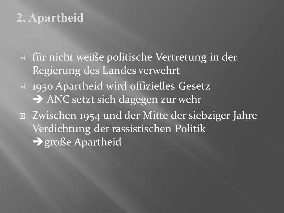 für nicht weiße politische Vertretung in der Regierung des Landes verwehrt 1950 Apartheid wird offizielles Gesetz ANC setzt sich dagegen zur wehr Zwis