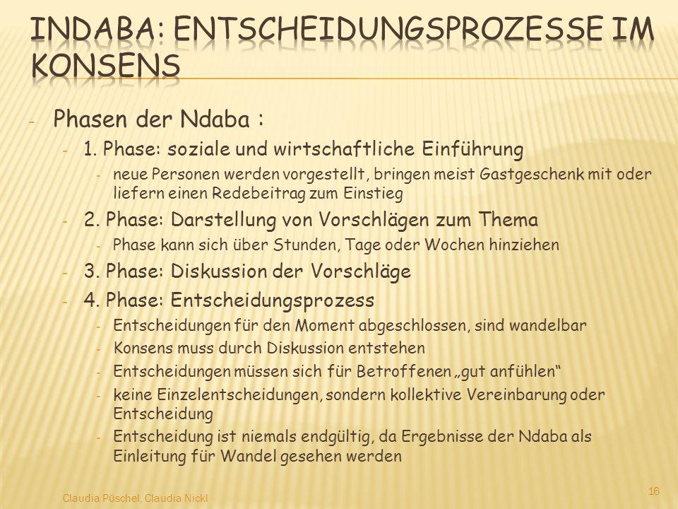 - Phasen der Ndaba : - 1. Phase: soziale und wirtschaftliche Einführung - neue Personen werden vorgestellt, bringen meist Gastgeschenk mit oder liefer