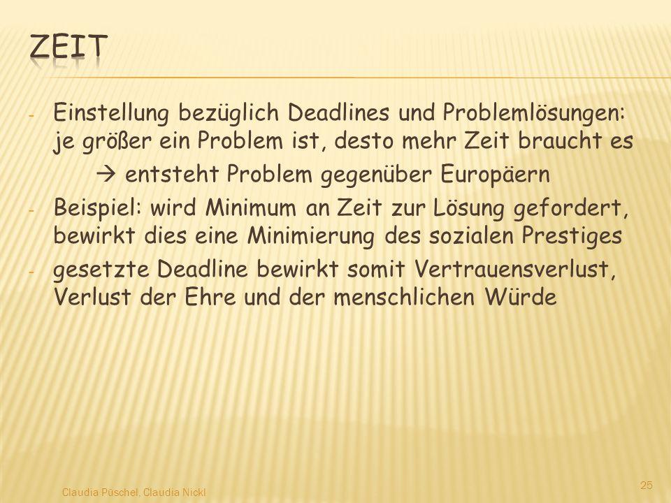 - Einstellung bezüglich Deadlines und Problemlösungen: je größer ein Problem ist, desto mehr Zeit braucht es entsteht Problem gegenüber Europäern - Be