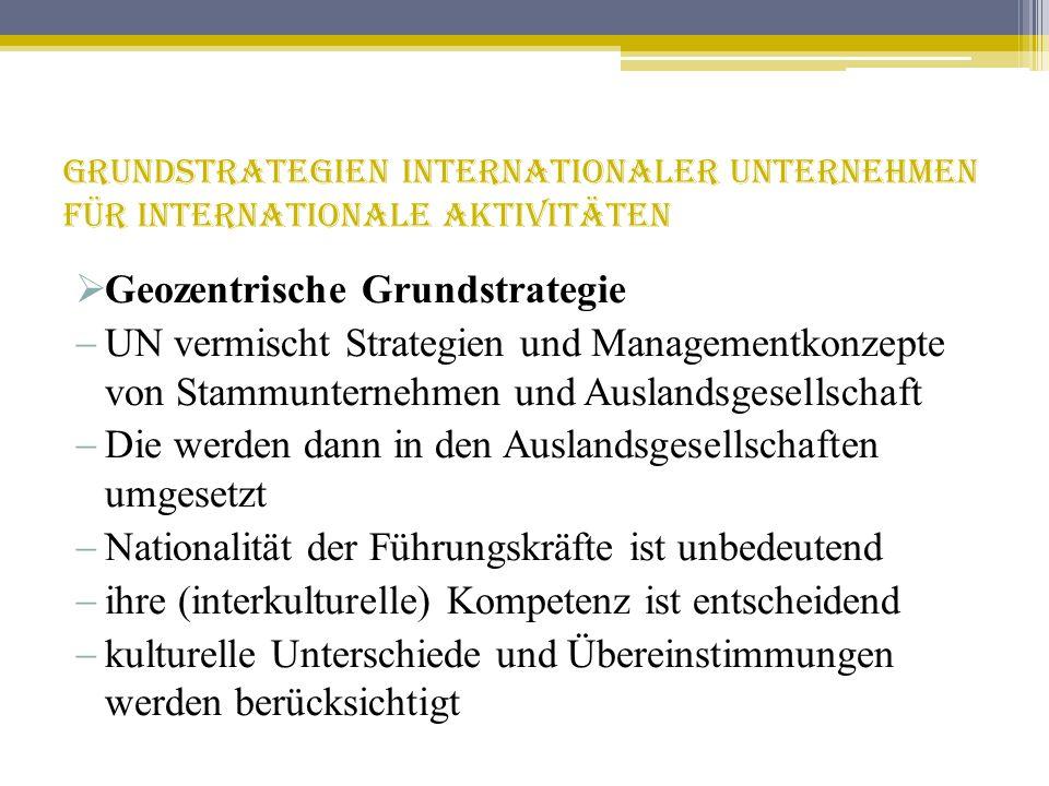 Grundstrategien internationaler Unternehmen für internationale Aktivitäten Geozentrische Grundstrategie UN vermischt Strategien und Managementkonzepte
