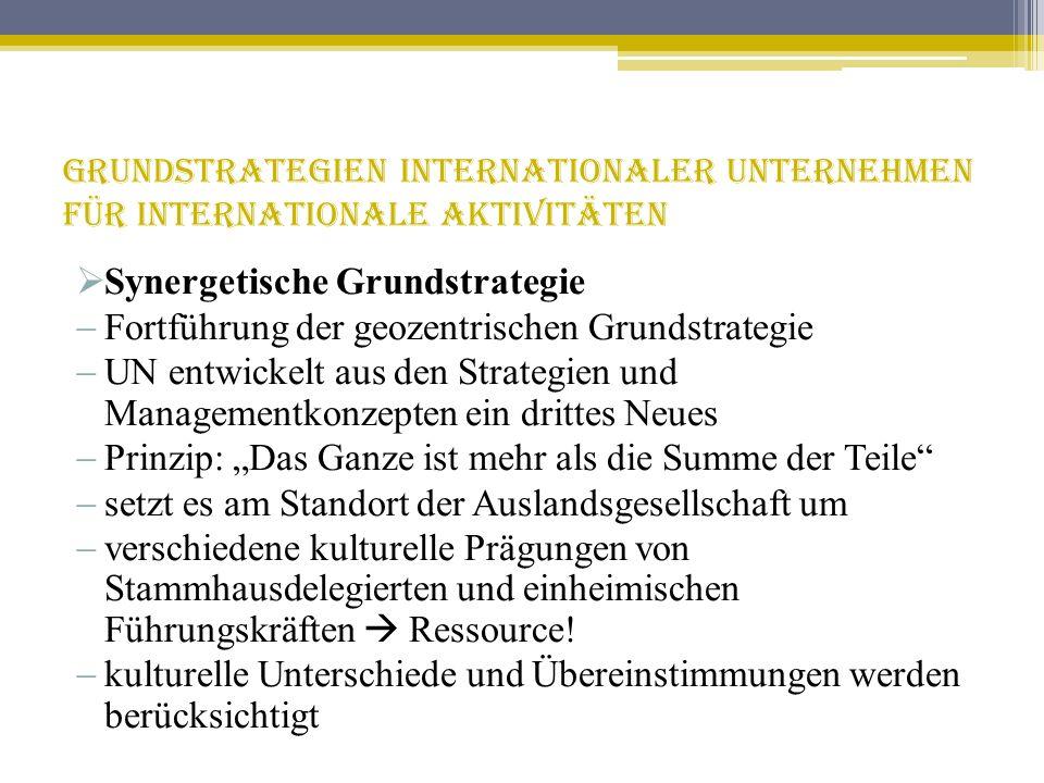Grundstrategien internationaler Unternehmen für internationale Aktivitäten Synergetische Grundstrategie Fortführung der geozentrischen Grundstrategie