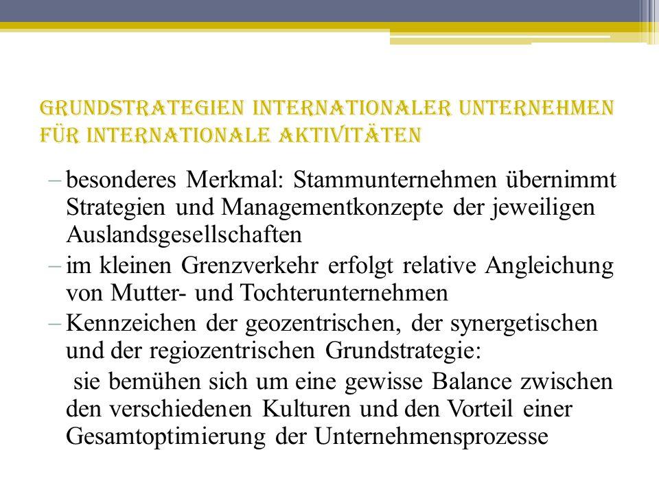 Grundstrategien internationaler Unternehmen für internationale Aktivitäten besonderes Merkmal: Stammunternehmen übernimmt Strategien und Managementkon