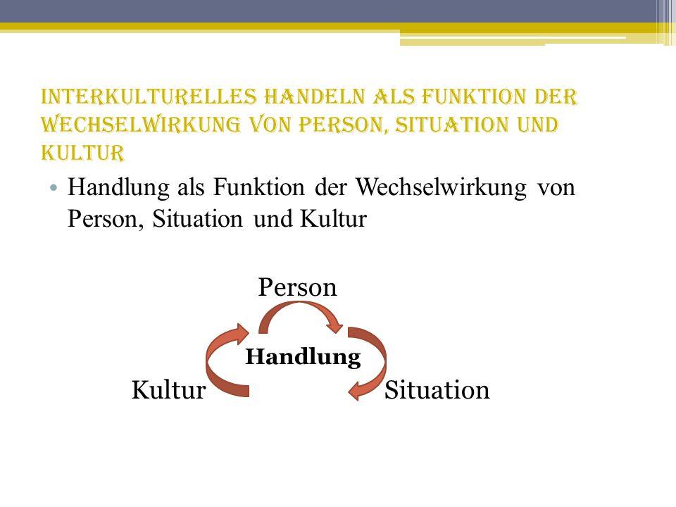 Interkulturelles Handeln als Funktion der Wechselwirkung von Person, Situation und Kultur Handlung als Funktion der Wechselwirkung von Person, Situati