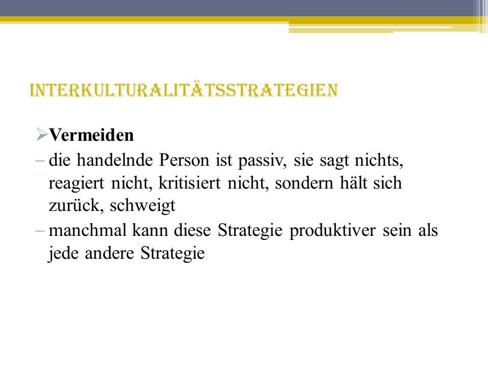 Der Einfluss der Grundstrategie internationaler Unternehmen auf die Interkulturalitätsstrategie international tätiger Mitarbeiter ethno- zentrisch poly- zentrisch geo- zentrisch syner- getisch regio- zentrisch Dominanz/ Anpassung Vermischung Synergie/ Innovation Vermeidung Grundstrategie Interkulturalitätsstrategie