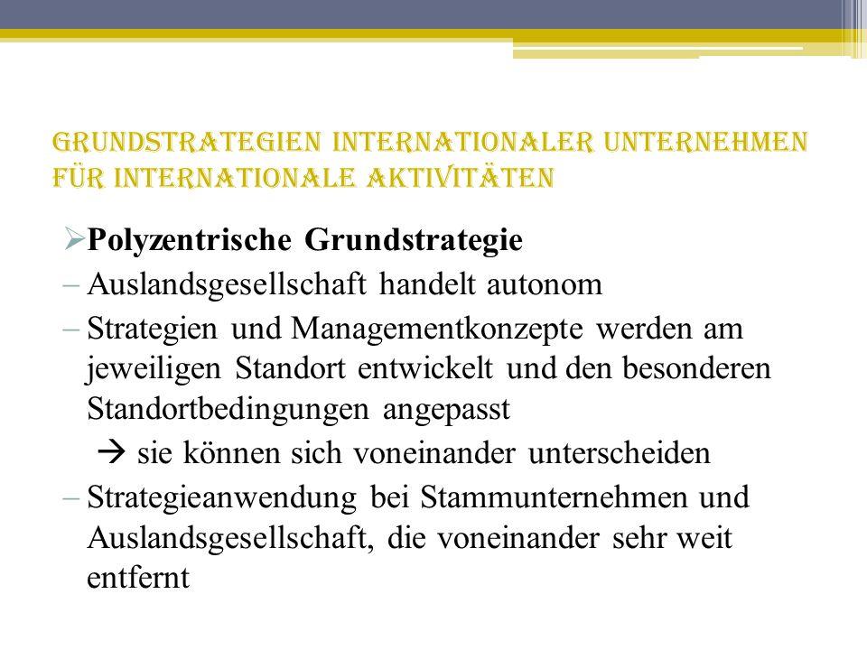 Grundstrategien internationaler Unternehmen für internationale Aktivitäten Polyzentrische Grundstrategie Auslandsgesellschaft handelt autonom Strategi