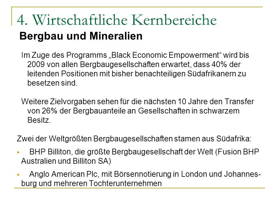 Im Zuge des Programms Black Economic Empowerment wird bis 2009 von allen Bergbaugesellschaften erwartet, dass 40% der leitenden Positionen mit bisher