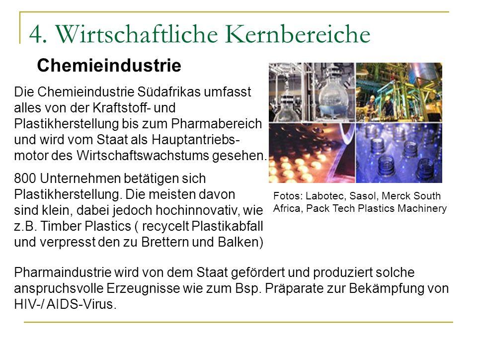 4. Wirtschaftliche Kernbereiche Chemieindustrie Die Chemieindustrie Südafrikas umfasst alles von der Kraftstoff- und Plastikherstellung bis zum Pharma