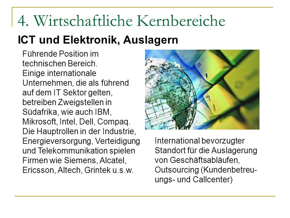 4. Wirtschaftliche Kernbereiche Führende Position im technischen Bereich. Einige internationale Unternehmen, die als führend auf dem IT Sektor gelten,