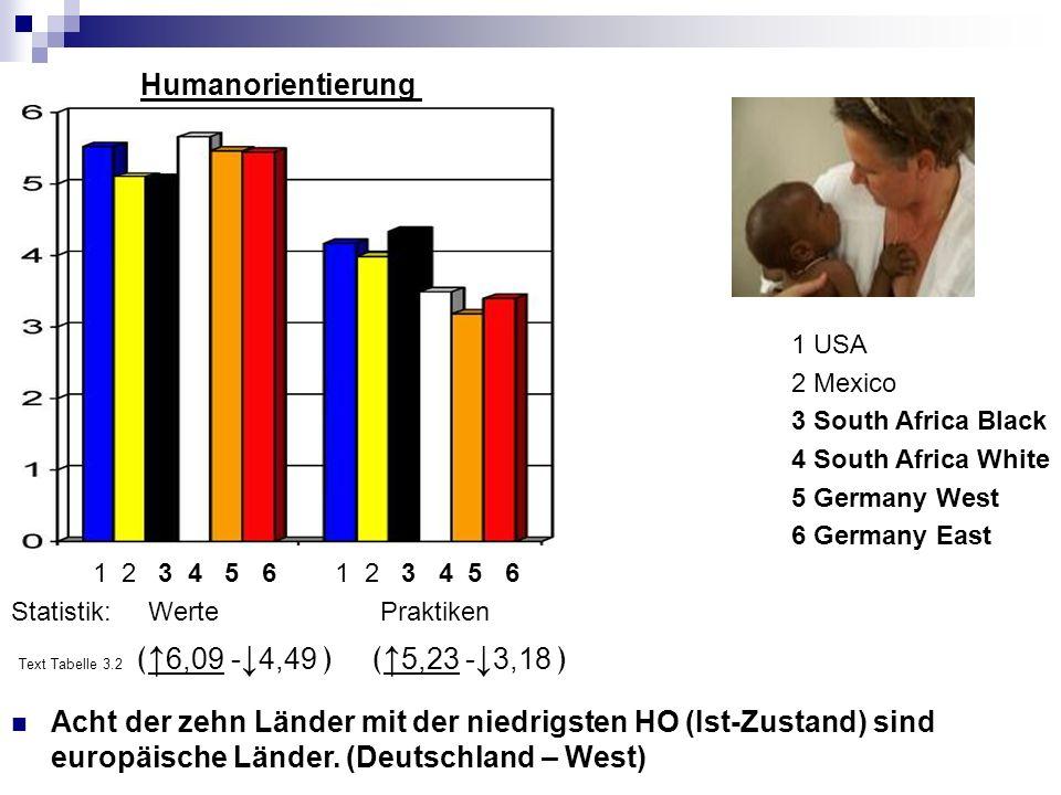1 USA 2 Mexico 3 South Africa Black 4 South Africa White 5 Germany West 6 Germany East Humanorientierung 1 2 3 4 5 6 1 2 3 4 5 6 Statistik: Werte Praktiken Text Tabelle 3.2 6,09 - 4,49 5,23 - 3,18 Acht der zehn Länder mit der niedrigsten HO (Ist-Zustand) sind europäische Länder.