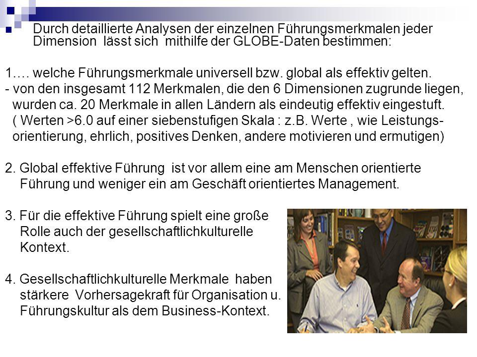Durch detaillierte Analysen der einzelnen Führungsmerkmalen jeder Dimension lässt sich mithilfe der GLOBE-Daten bestimmen: 1….