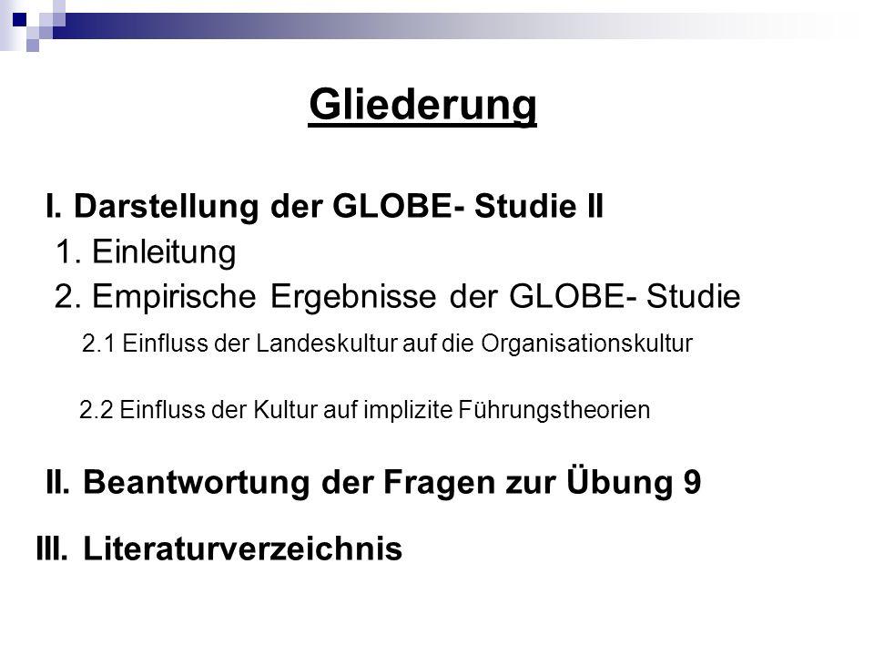 Gliederung I.Darstellung der GLOBE- Studie II 1. Einleitung 2.