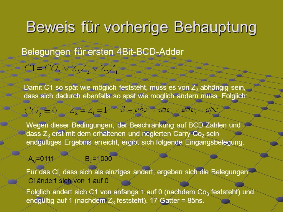 Beweis für vorherige Behauptung Belegungen für ersten 4Bit-BCD-Adder Damit C1 so spät wie möglich feststeht, muss es von Z 3 abhängig sein, dass sich dadurch ebenfalls so spät wie möglich ändern muss.