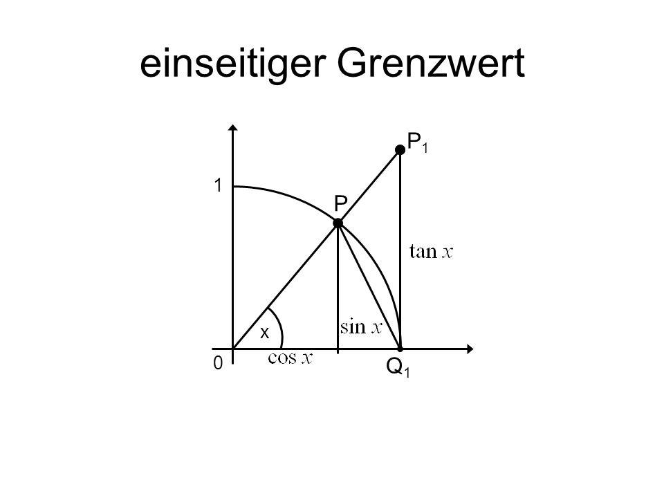 einseitiger Grenzwert x P P1P1 Q1Q1 0 1