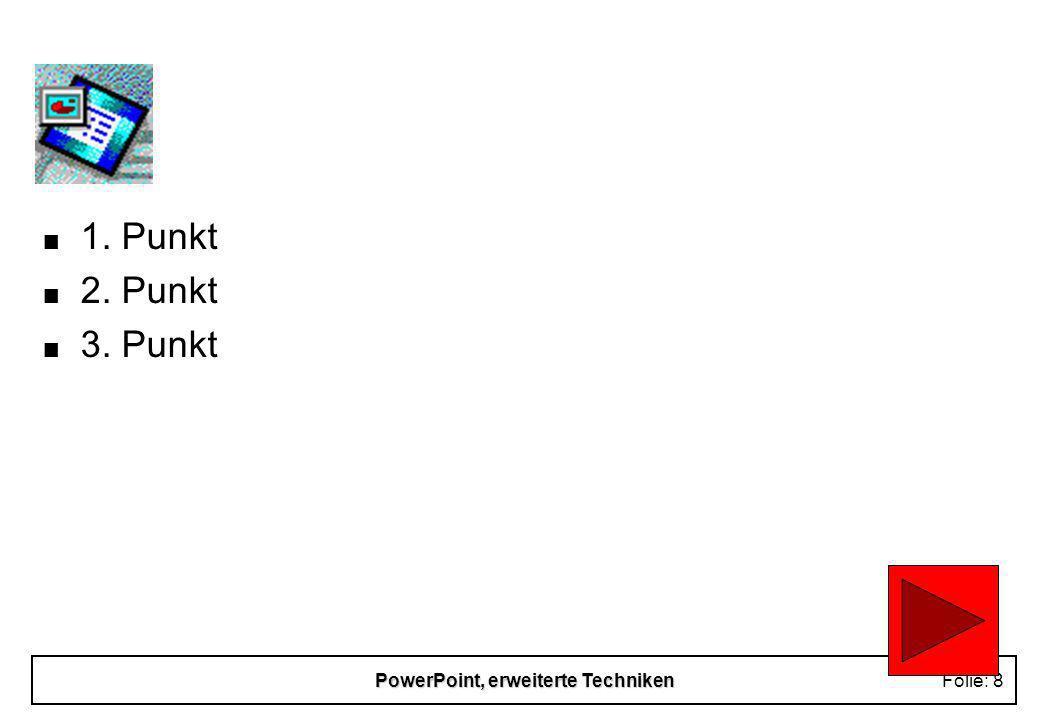 PowerPoint, erweiterte TechnikenFolie: 18 Drucken n Ausdruck auf Folie u Voransicht über SW-Ansicht n Handzettel, Vortragsnotizen n Druckersymbol in der Symbolleiste druckt ohne Nachfrage die komplette Präsentation auf dem Windows- Standartdrucker n Drucker im URZ / Abrechnung