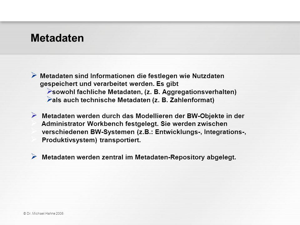 © Dr. Michael Hahne 2006 Metadaten sind Informationen die festlegen wie Nutzdaten gespeichert und verarbeitet werden. Es gibt sowohl fachliche Metadat