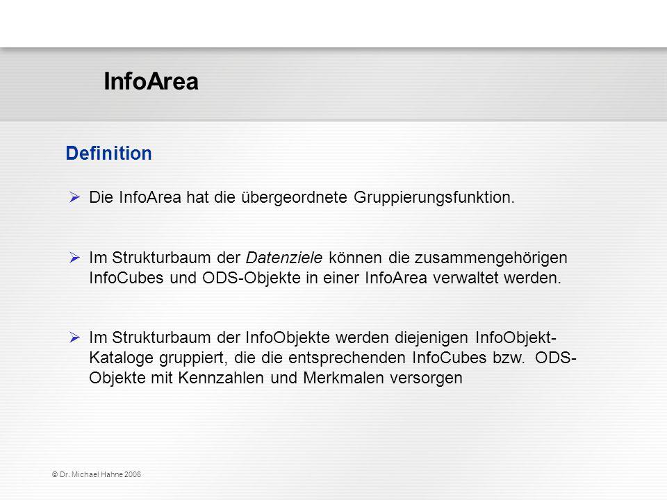 © Dr. Michael Hahne 2006 InfoArea Definition Die InfoArea hat die übergeordnete Gruppierungsfunktion. Im Strukturbaum der Datenziele können die zusamm